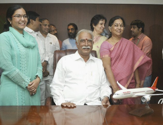 India's Minister for Civil Aviation Ashok Gajapathi Raju Pusapati (pictured seated) claims progress on multiple fronts - but has yet to announce the promised new aviation policy.