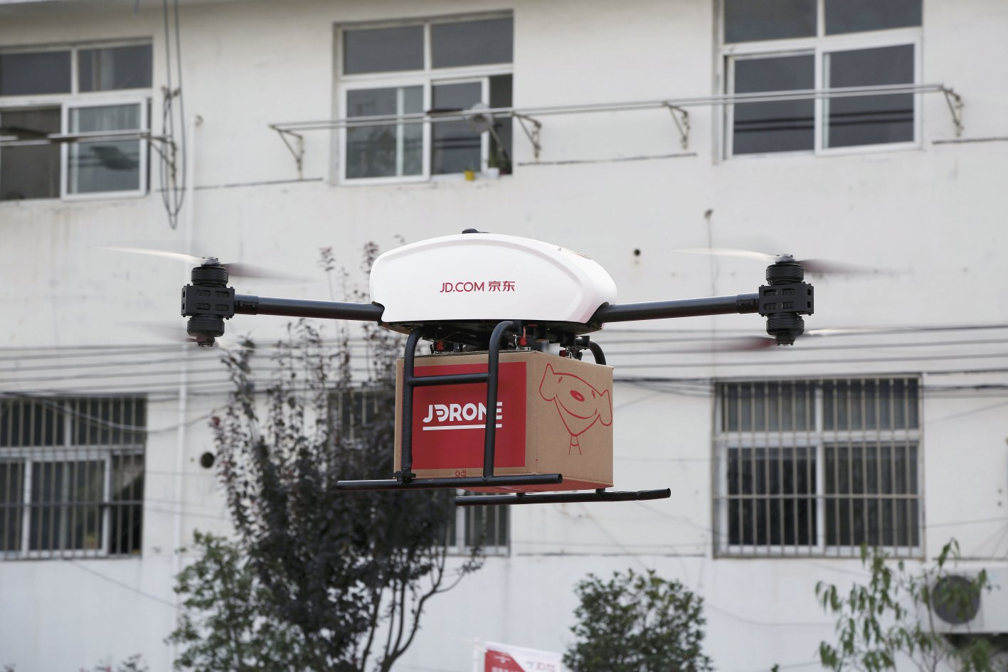 A JD.com delivery UAV, pictured in November 2016 on take-off in Suqian, Jiangsu Province, China.